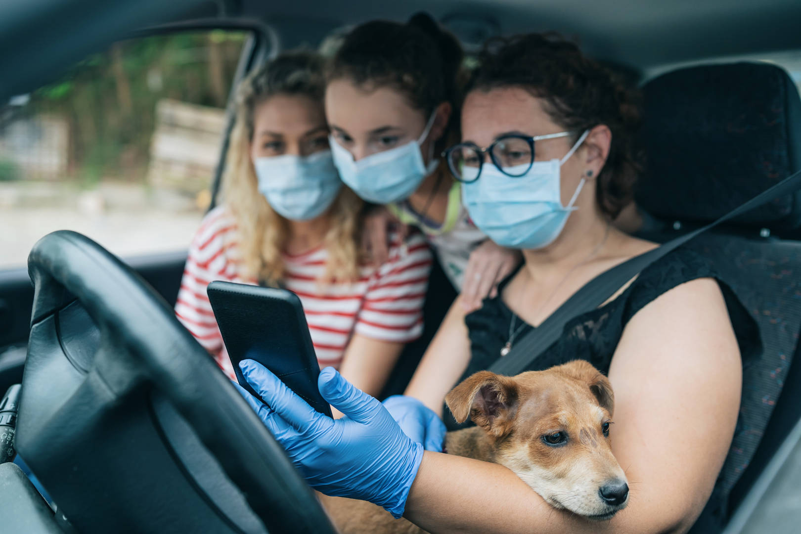 Family waits for vet appointment in car